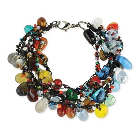 wholesale glass bead drop black thread bracelet zad
