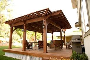 Covered Backyard Patio Ideas Backyard Deck Pergola Lattice Fullwrap Cantilever Roof