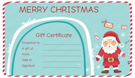 christmas printable voucher templates santa messages christmas gift certificate template