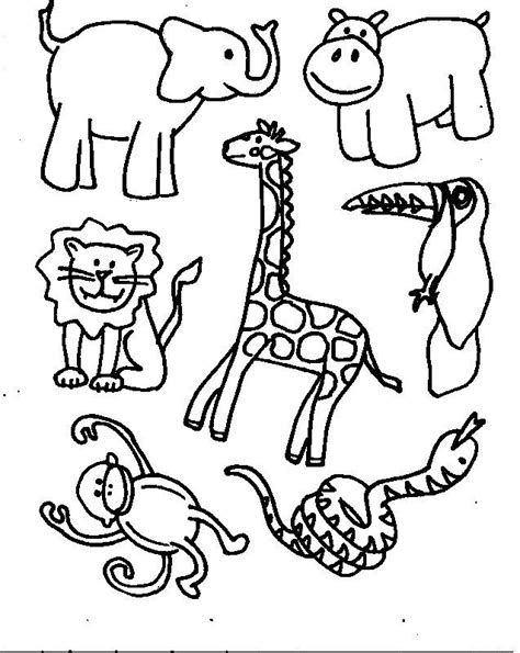 jungle animals coloring pages preschool animal cut outs noah s ark birthday party ideas