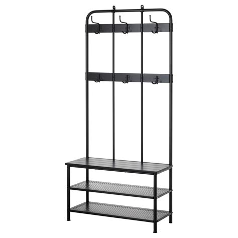 shoe bench with coat rack pinnig coat rack with shoe storage bench black 193 cm ikea