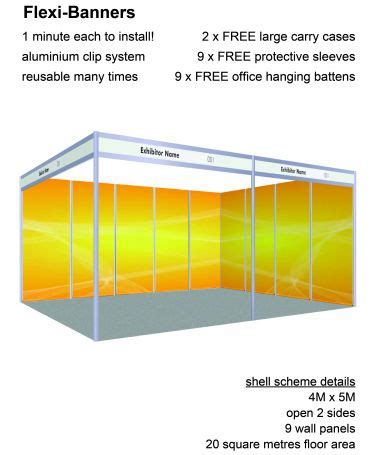 flexi banners 9 displays for 4 x 5 shell scheme colour