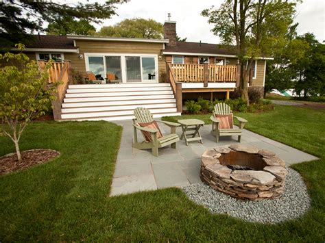 backyard patios with pits backyard from cabin 2010 diy network cabin