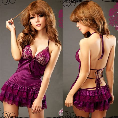 Ss2021pe High Quality Babydoll G String Import Purple Ungu sissy lace babydoll