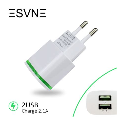 Charger Mobil 2 Usb 1a T3010 2 esvne 2 usb charger 5v 2 1a eu usb adapter wall mobile phone charger for iphone 5 6 7