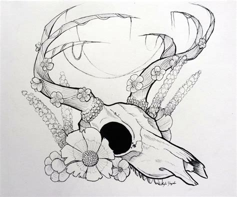 deer skull and flowers by shewolf444 on deviantart