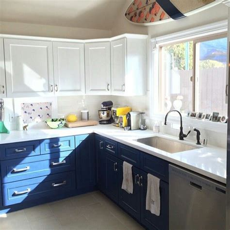 blue and white kitchen ideas two tone kitchen cabinets white blue house stuff