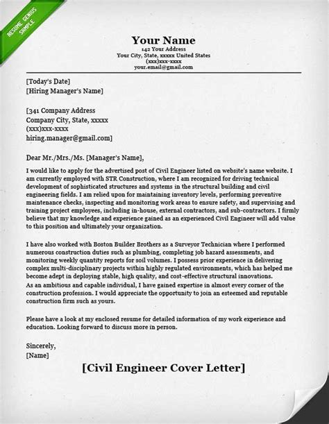 cover letter of engineer civil engineering resume sle resume genius