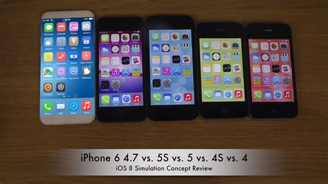 apple iphone 6 4 7 quot vs 5s vs 5 vs 4s vs 4 ios 8 simulation concept review