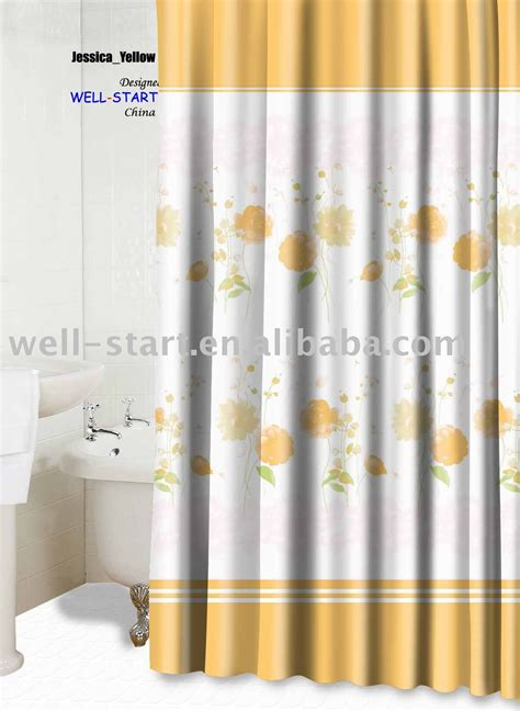yellow printed curtains jessia yellow printed polyester fabric shower curtain