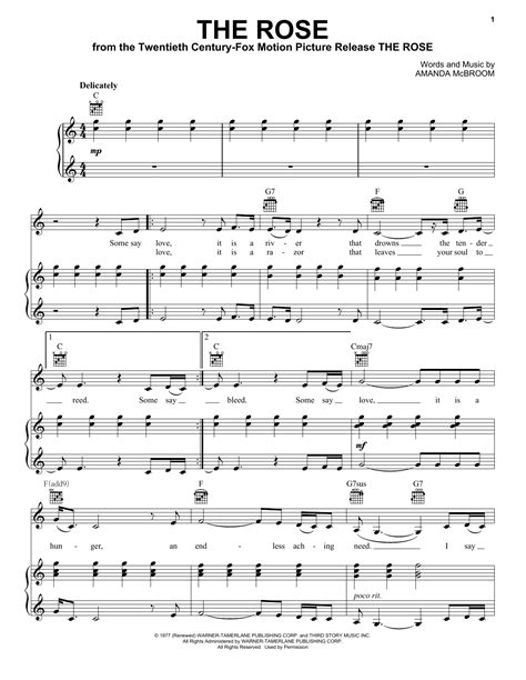 midler lyrics the sheet by bette midler piano vocal