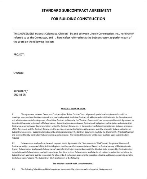standard subcontract agreement template subcontractor agreement 11 free word pdf documents