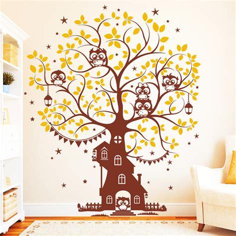Wandtattoo Kinderzimmer Eule Baum by Eulen Baum Haus 2farbig Wandtattoo