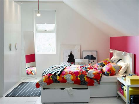 ikea bedroom storage small ikea bedroom idea with bed and storage boxes along with colorful bedding decoist