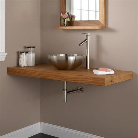 Vanity Top For Vessel Sink 49 Quot Teak Wall Mount Vanity Top For Vessel Sink Bathroom