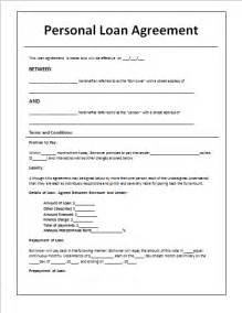 personal loan agreement template document templates loan agreement template in word
