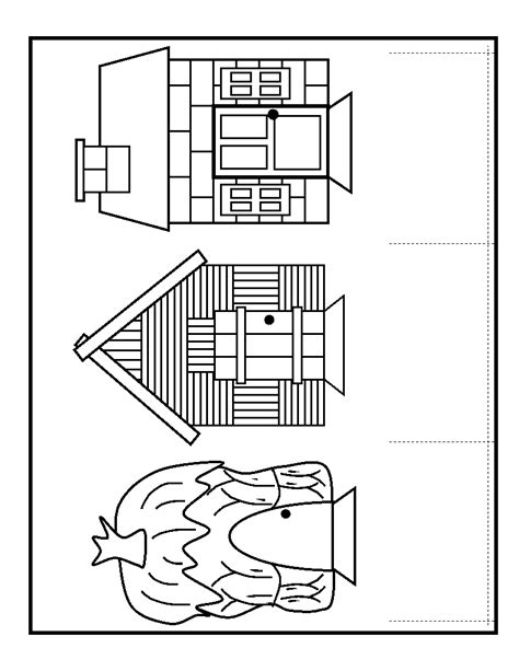 Three Pigs Houses Coloring Pages 3 pigs which house is min