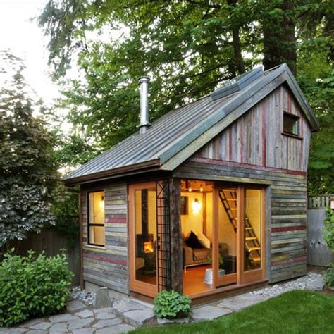 backyard cabin using reclaimed materials for home building little house