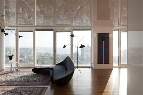 Black Livingroom Furniture Black Modern Sofa Glass Walls City Views Elegant