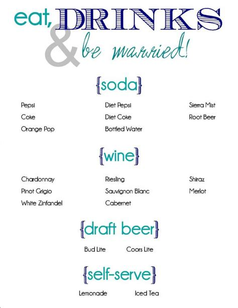 wedding drink menu template bar drinks menu sle images