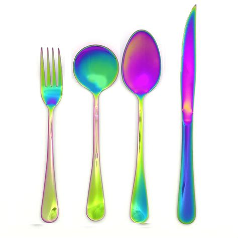 Colorful Set mirror polished stainless steel colorful dinnerware set rainbow color steak knife dinner fork