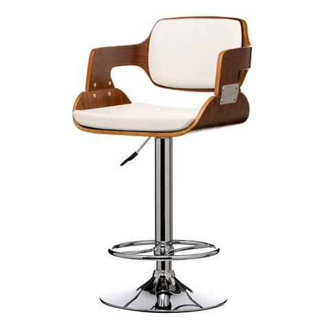Wood And Leather Bar Stools Buy Walnut Wood And White Faux Leather Retro Bar Stool