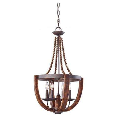 Feiss Adan 4 Light Rustic Iron Burnished Wood Single Tier Rusted Chandelier