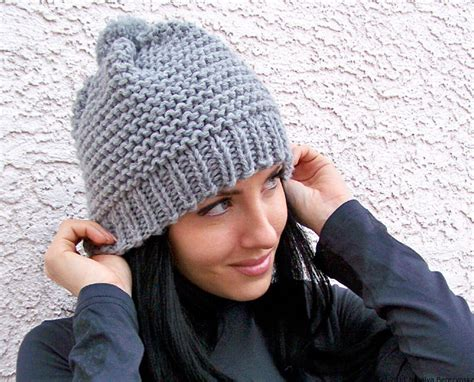 knit winter hat knit hat with pom pom hat chunky knit hat slouchy beanie