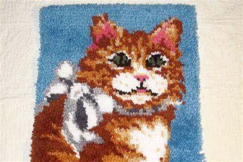 latch and hook rug vintage latch hook rug cat