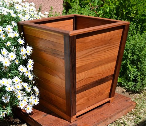 Redwood Planter Box Plans by The Tapered Planters Built To Last Decades Forever Redwood