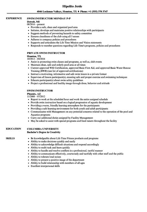 swim instructor resume sles velvet