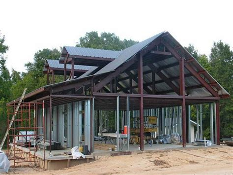steel frame home plans metal building home ideas with red paint frame house