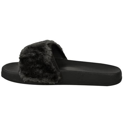 flat slippers for womens womens flat farrah rubber sliders mules faux fur