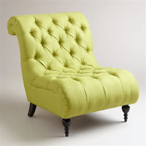 green bedroom chair green tufted devon slipper chair world market