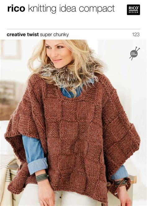 poncho pattern knitting yarn ponchos in rico creative twist super chunky 123