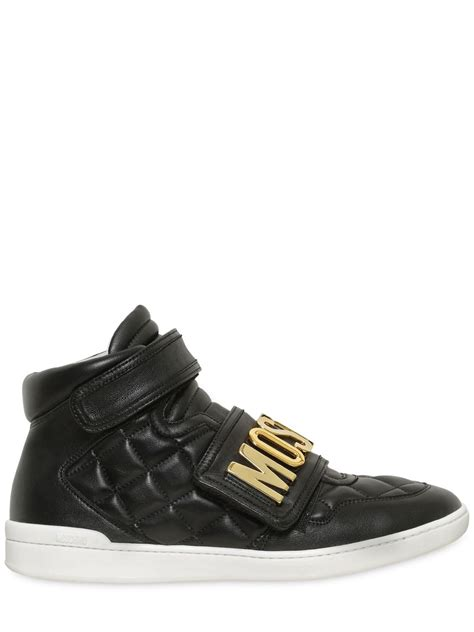 moschino sneakers moschino logo quilted leather high top sneakers in black