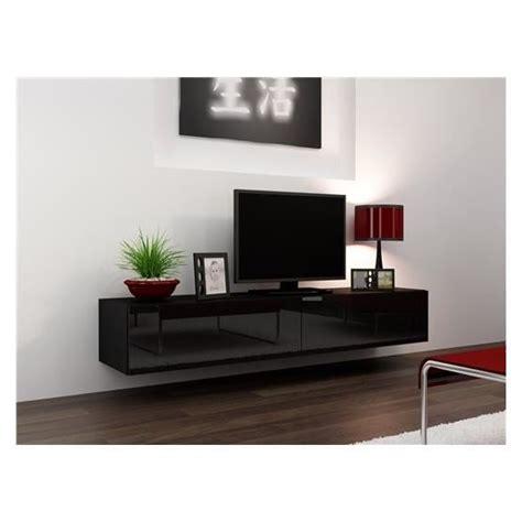 meuble tv design suspendu vito 180 noir achat vente