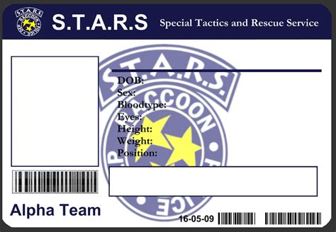 security id card template s t a r s id card template by j j joker on deviantart