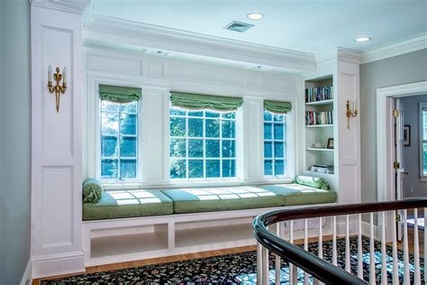 built in window seat traditional staircase with window seat built in window
