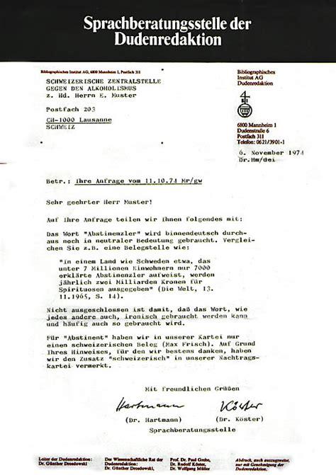 Brief Schweiz Aufbau abstinenz ohne alkohol