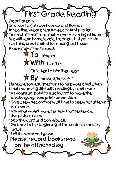 Parent Letter Home About Reading Grade Wow Ready To Read At Home