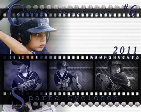 Pro Filmstrip Poster Kits Ready To Edit In Photoshop Or Elements Baseball Photo Templates Photoshop
