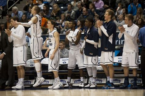 basketball bench cheers photos byu vs pacific men s basketball byu men s basketball heraldextra com