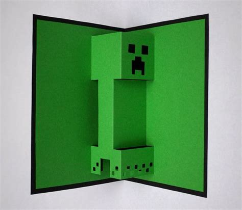 minecraft creeper pop up card by paperflex on etsy 163 1 99