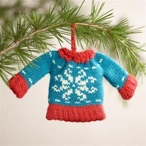 knit ornaments mini knit sweater ornaments set of 3 world market