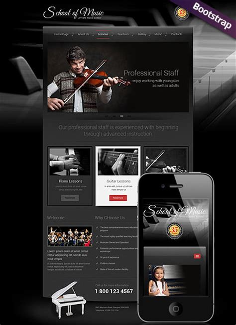 music school bootstrap template id 300111757 from