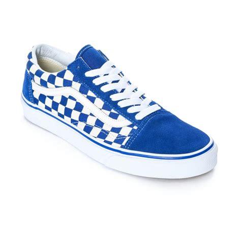 converse vans skool blue white checkered skate shoes
