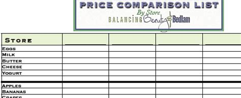 printable grocery list with prices grocery comparison printable list balancing beauty and