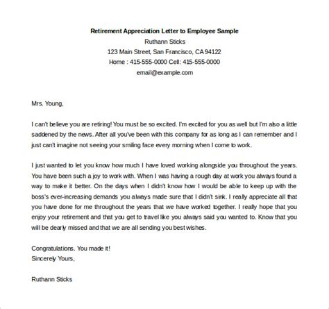 Thank You Letter Employees From Employer sample retirement letter employer to employee cover