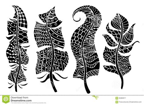 doodle tribal stylized feathers vector collection set of
